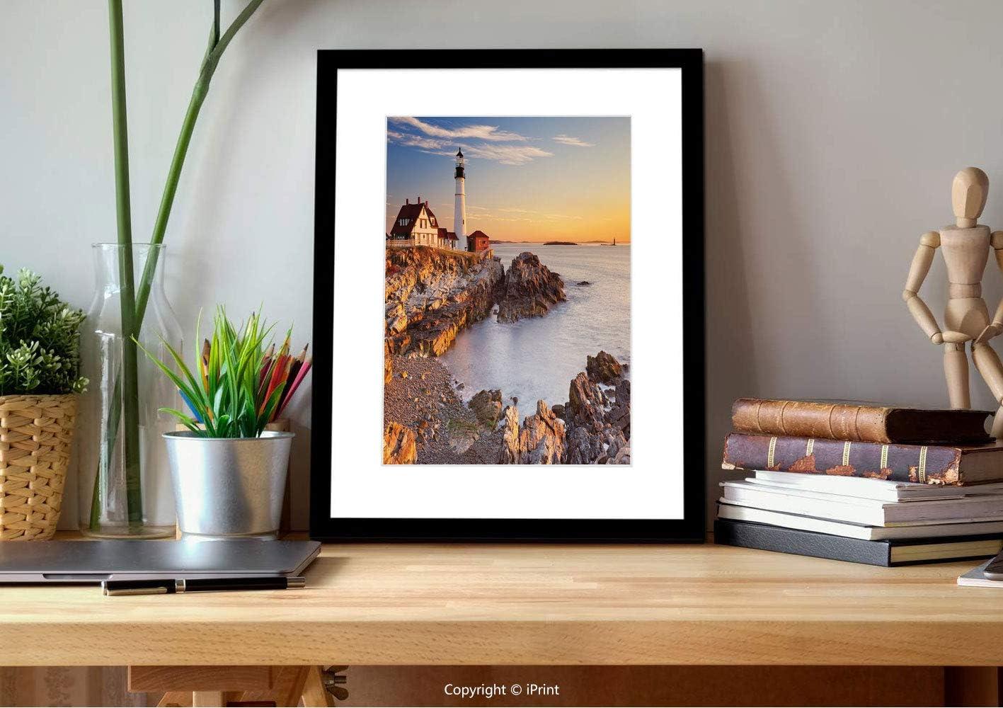 №23422 Wall Kunst mit Frame,United States,Cape Elizabeth Maine River Portland Lighthouse Sunrise Usa Coast Scenery, Blue Tan, Gifts