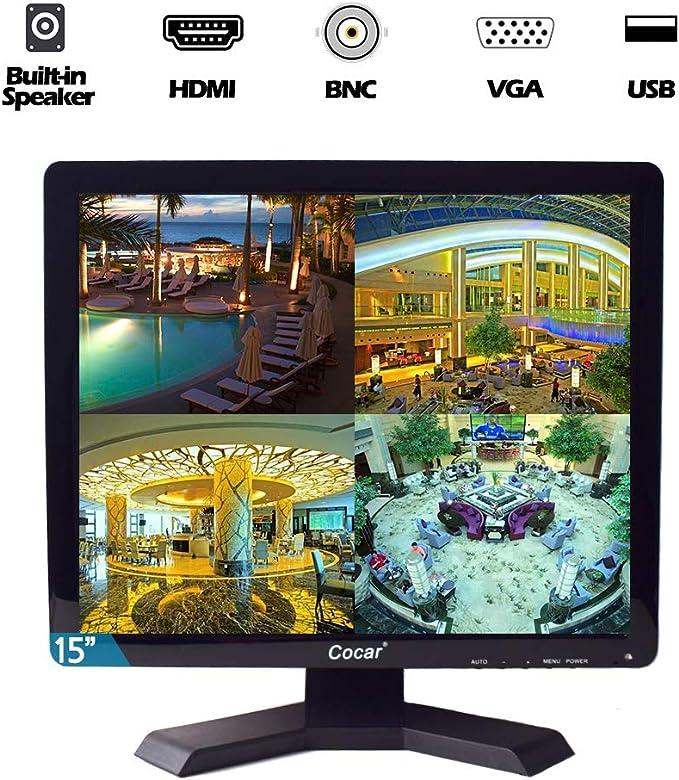 Cocar Monitor CCTV de 15 Pulgadas VGA HDMI AV BNC, Pantalla HD 4: 3 Resolución 1024x768 Luz de Fondo LED Pantalla de Seguridad LCD Altavoz Incorporado para cámara de vigilancia STB PC: