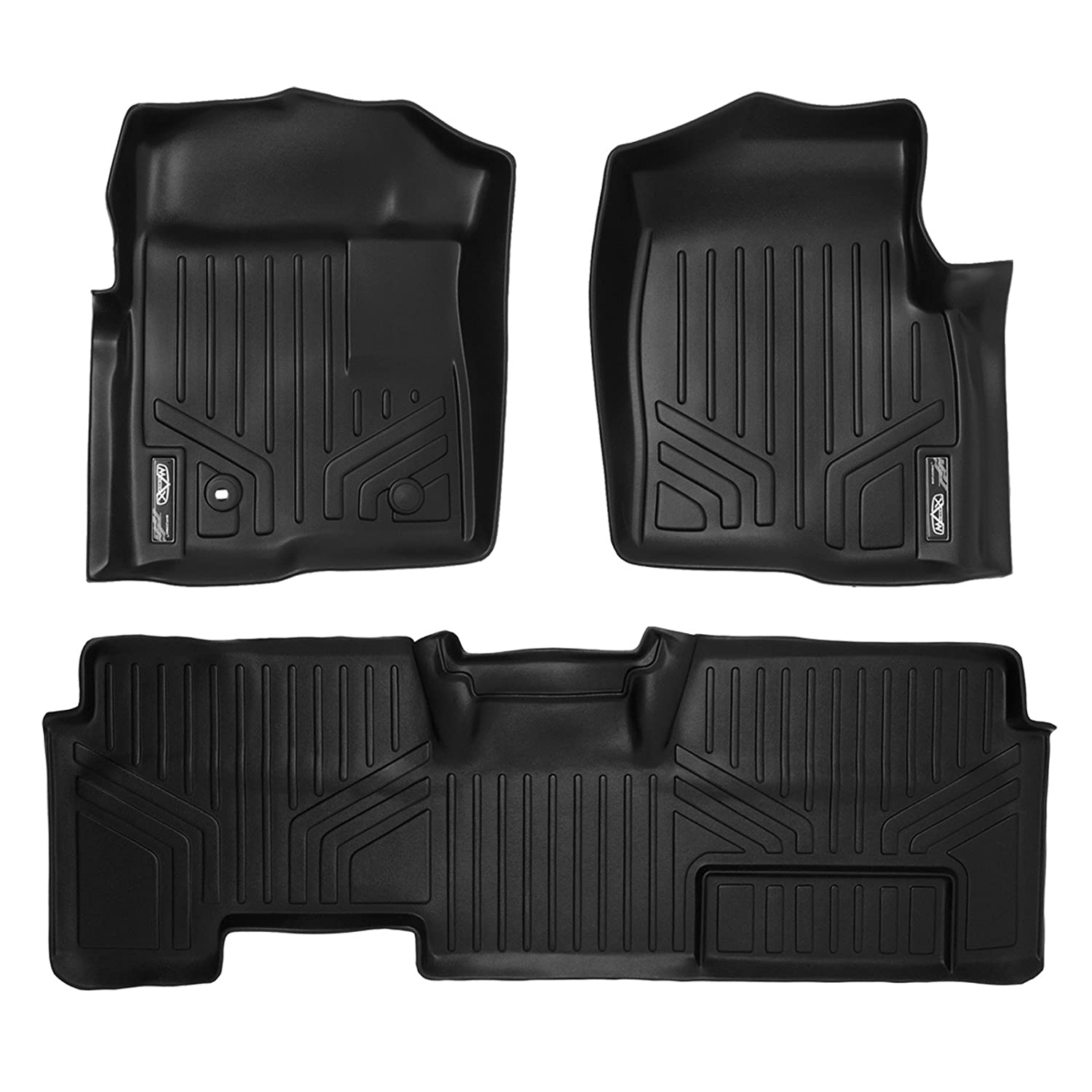 MAXLINER A0017/B0026 Floor Mats for Ford F-150 Super Cab Non Flow Center Console, 2009-2010 Complete Set, Black