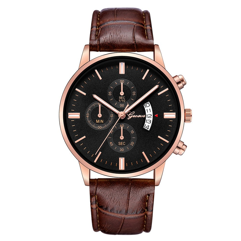 Watches for Men Clearance Wugeshangmao Boy's Fashion Analog Quartz Watch, Men's Casual Date Stainless Steel Leather Band Wirst Watch Business Watch Gift