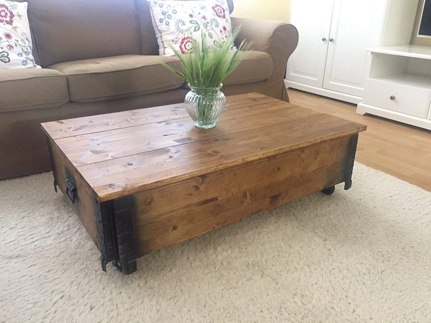 Uncle Joe S Wooden Coffee Table With Cover In Light Brown In