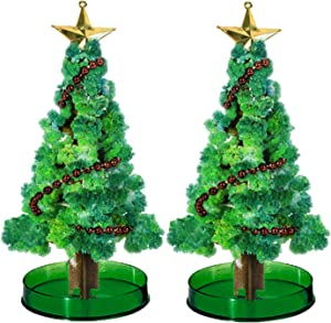 2PCS Magic Growing Christmas Tree Crystal Christmas Tree Green Colorful DIY Christmas Tree Nightmare Before Christmas Decorations Kids DIY Felt Funny Educational and Party Toys