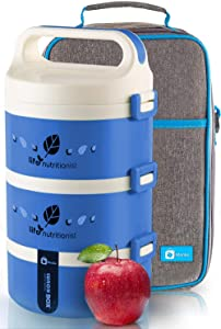 Bento Lunch Box Stackable Stainless Steel Thermal (3-Tier) Lunch Containers with Insulated Lunch Bag Leakproof Food Storage For Kids, Adults,Man and Women (Blue) - MONKA