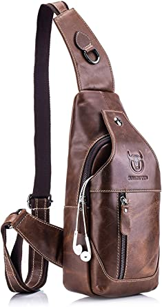 US Men/'s Sling Bag Genuine Leather Chest Shoulder Backpack Cross Body Purse