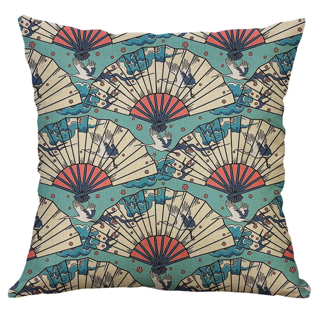 FENSIN Style Japonais Housse de Coussins Vintage Broderie Motif Abstrait en Coton-Lin Taie doreiller Decoratifs pour Canapes Moderne Chambre Bureau Voiture C(45x45cm)