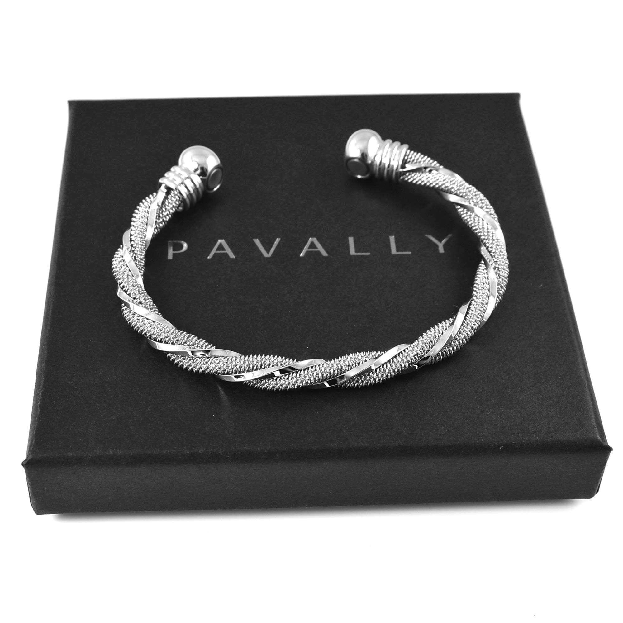 Ladies Magnetic Bangle Bracelet Carpal Tunnel Arthritis Natural Pain Relief Womens by Pavally® Silver Tone Torque Twist - Boxed