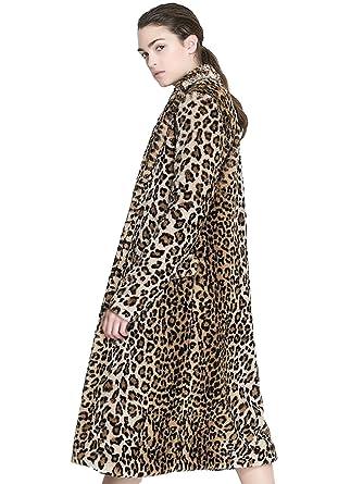 19dca8d7d5a0f Aukmla Women s Faux Fur Coat Leopard Printed Long Lapel Jacket with Pockets  (Medium)