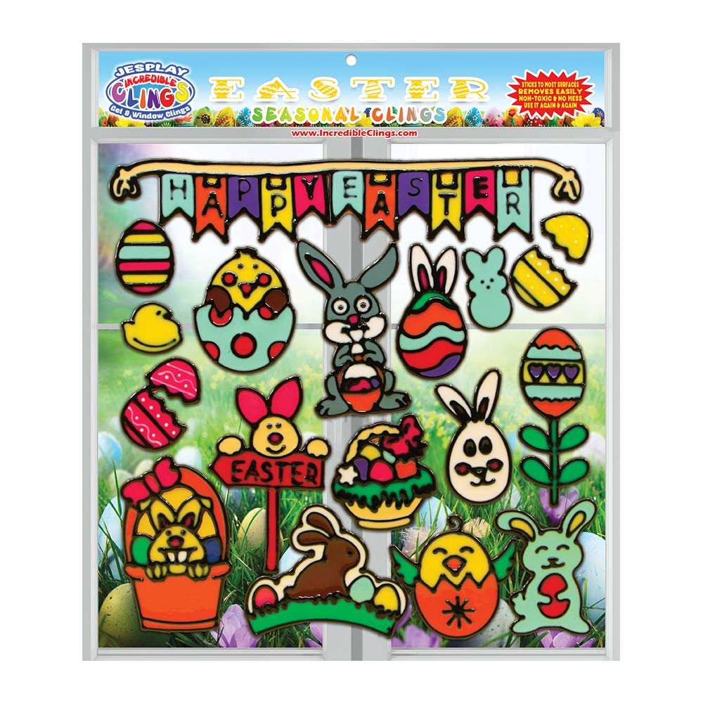 JesPlay Easter Holiday Flexible Gel Window Clings for Kids Chocolate and More Decals Basket Eggs Easter Bunny Incredible Reusable Removable Thick Gel Clings 18 Piece