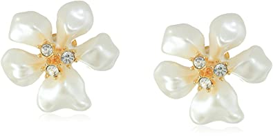 Kenneth Jay Lane Crystal Flower Clip Earrings Gold/crystal