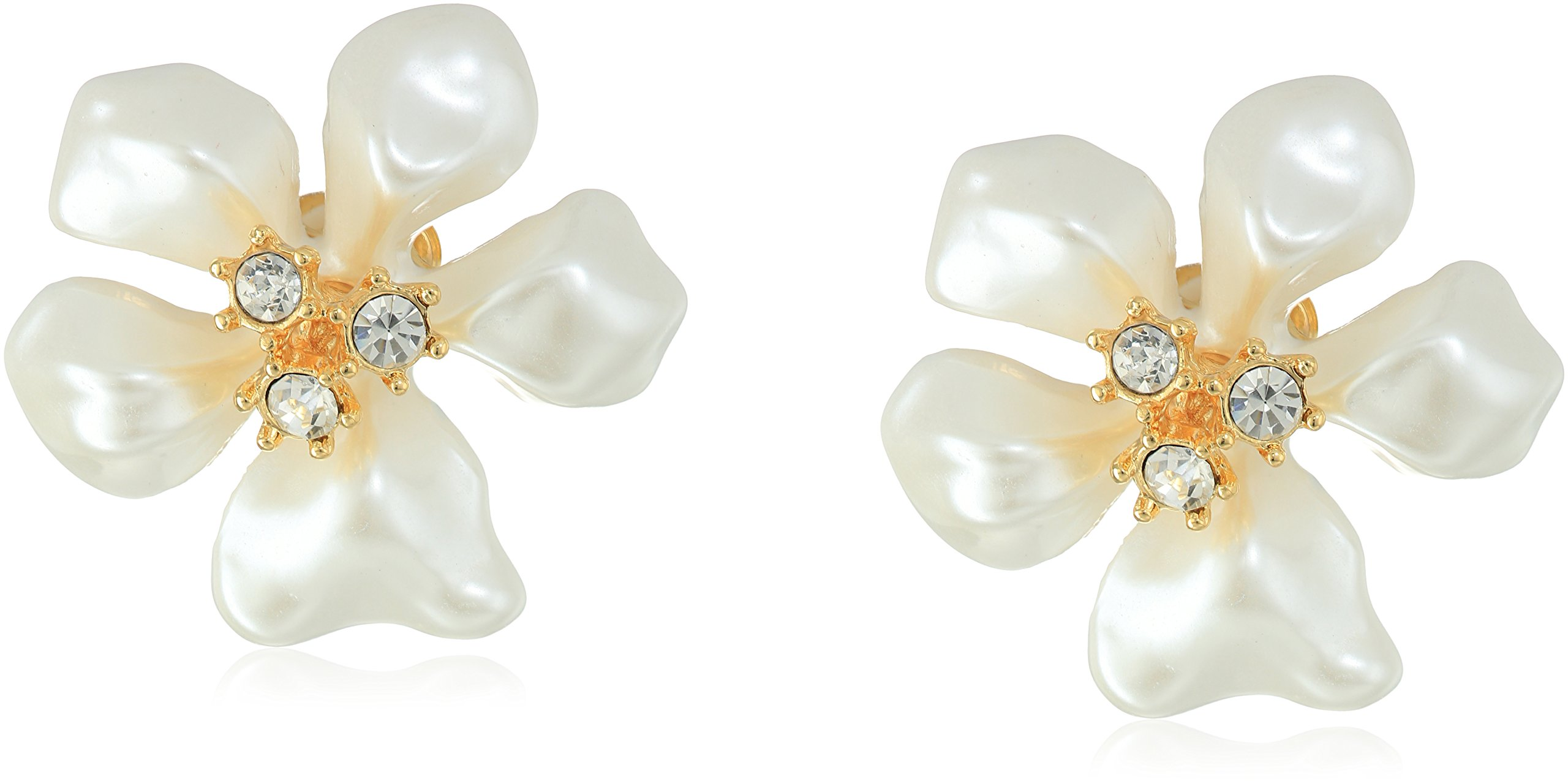 Kenneth Jay Lane Gold Crystal White Pearl Flower Clip-On Earrings