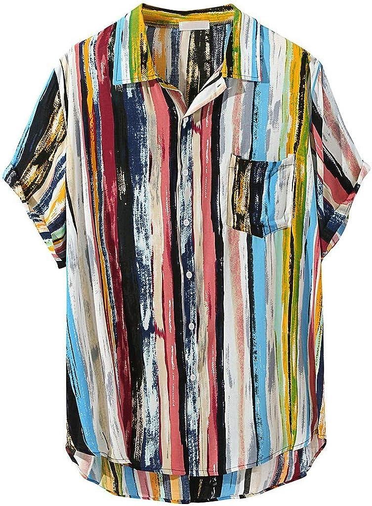 Beautyfine Mens Blouses /& Button-Down Shirts Multi Color Lump Chest Pocket Short Sleeve Round Hem Loose Tops
