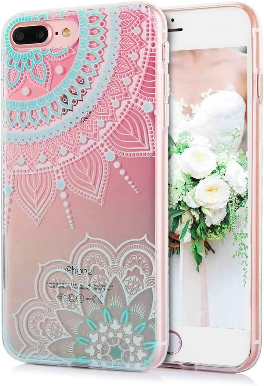 "iPhone 8 Plus Mandala Case iPhone 7 Plus Clear Case Floral White Cyan Mandala Pattern Transparent Soft TPU Case Shockproof Phone Cases for Women Girls-[5.5""]"