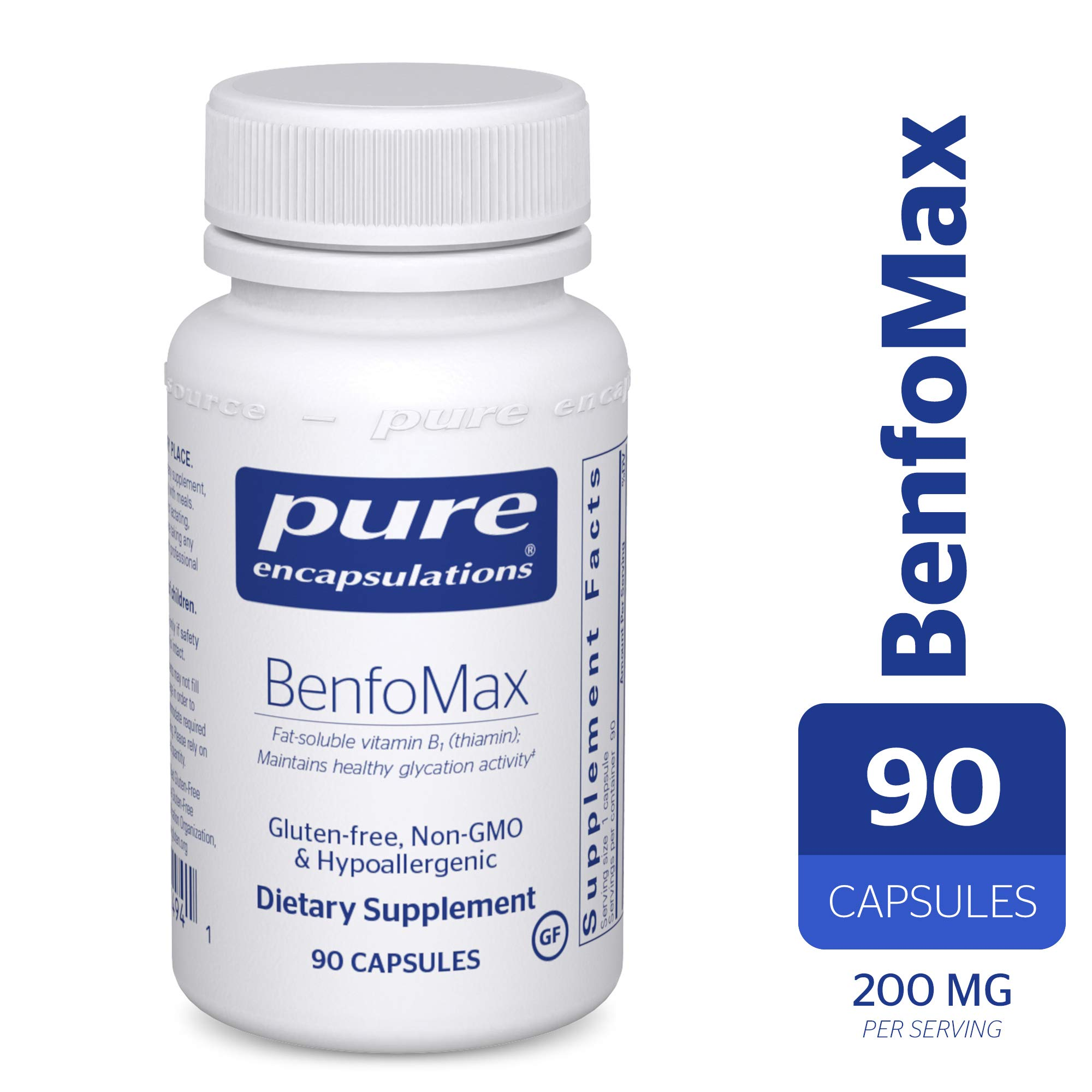 Pure Encapsulations - BenfoMax - Hypoallergenic, Fat-Soluble Vitamin B1 (Thiamine) Supplement - 90 Capsules