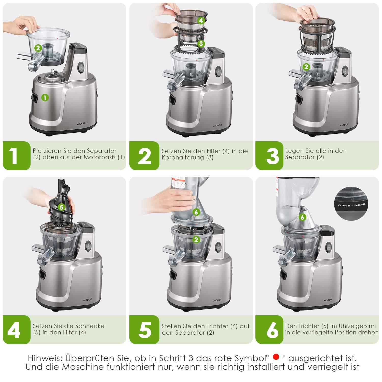 AICOOK Licuadora Prensado Frio, 3 en 1 Licuadora para Frutas, Verduras, Alimentos para Bebés y Helado, Diseño de Bajo Ruido, Pre-Limpieza y la Función ...