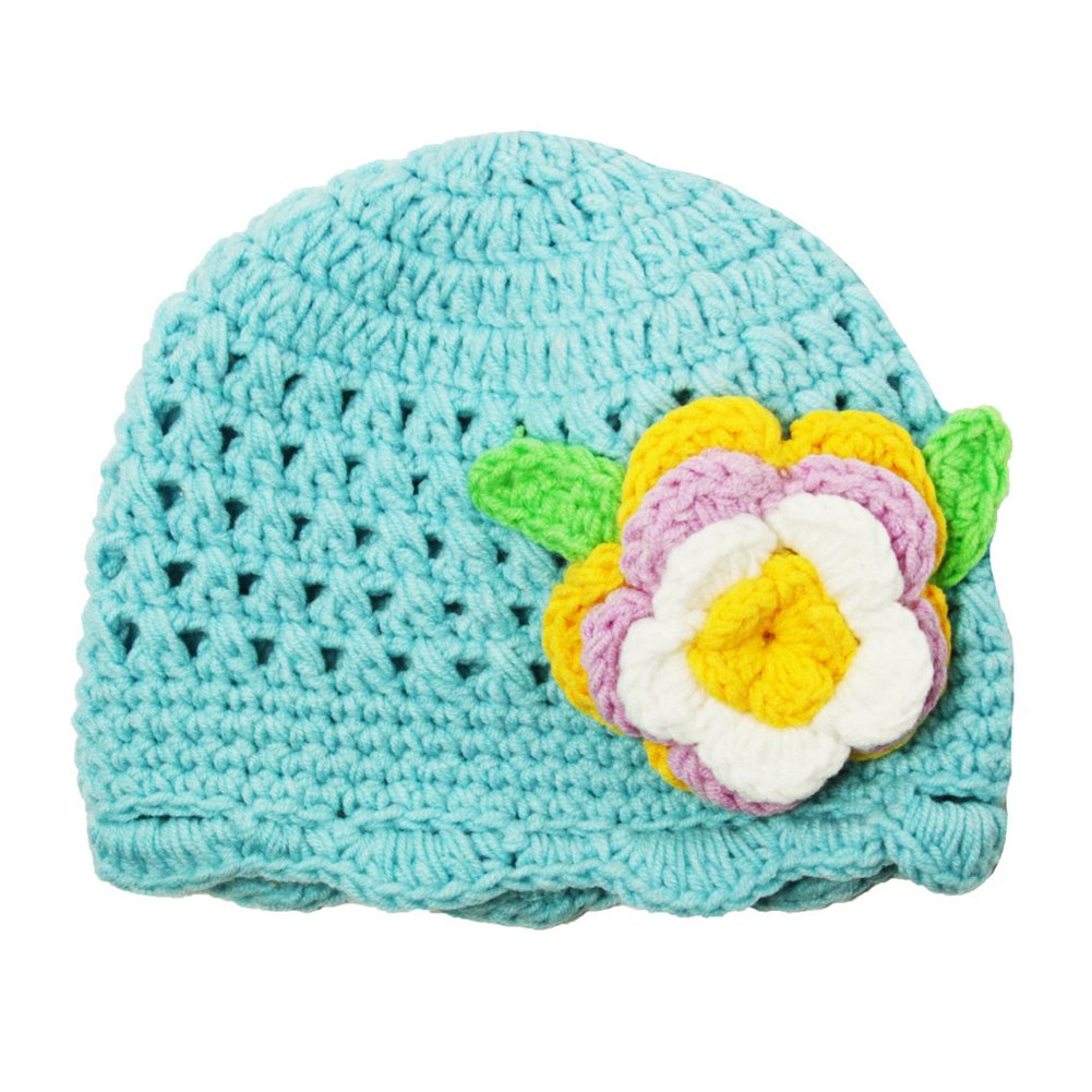 Dress Up Dreams Boutique Little Girls Turquoise Flower Beanie Crochet Hat 1-2 Years