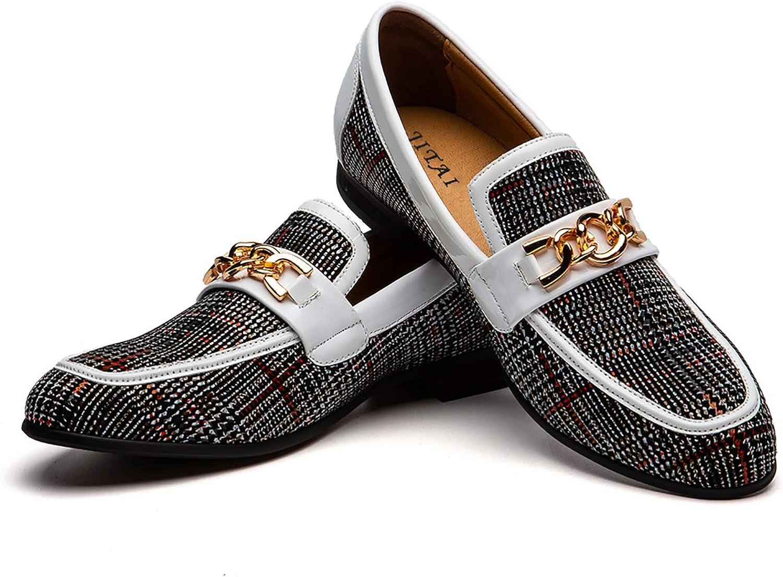 Zapatos de Cuero para Hombres Patrón de impresión Vestido para Hombres Zapatos holgazán Slip-on Informal Loafer Smoking Slipper…