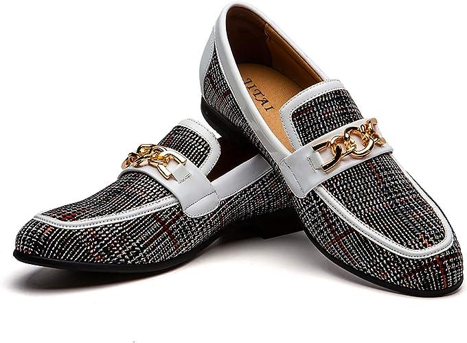 TALLA 40 EU. Zapatos de Cuero para Hombres Patrón de impresión Vestido para Hombres Zapatos holgazán Slip-on Informal Loafer Smoking Slipper…