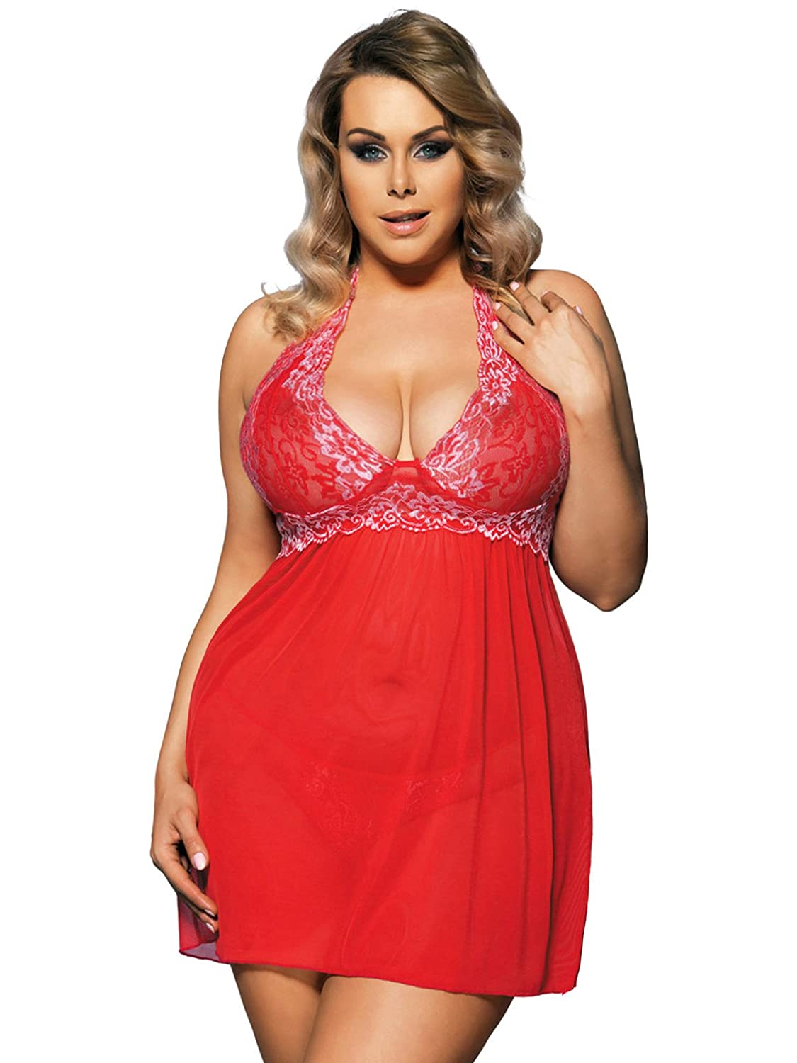 fc46396b5856 Design: Womens Plus Size Lace Babydoll Lingerie Set. Lace halter neck,  see-through, soft lace cups(no padded) with v neck, lace ...