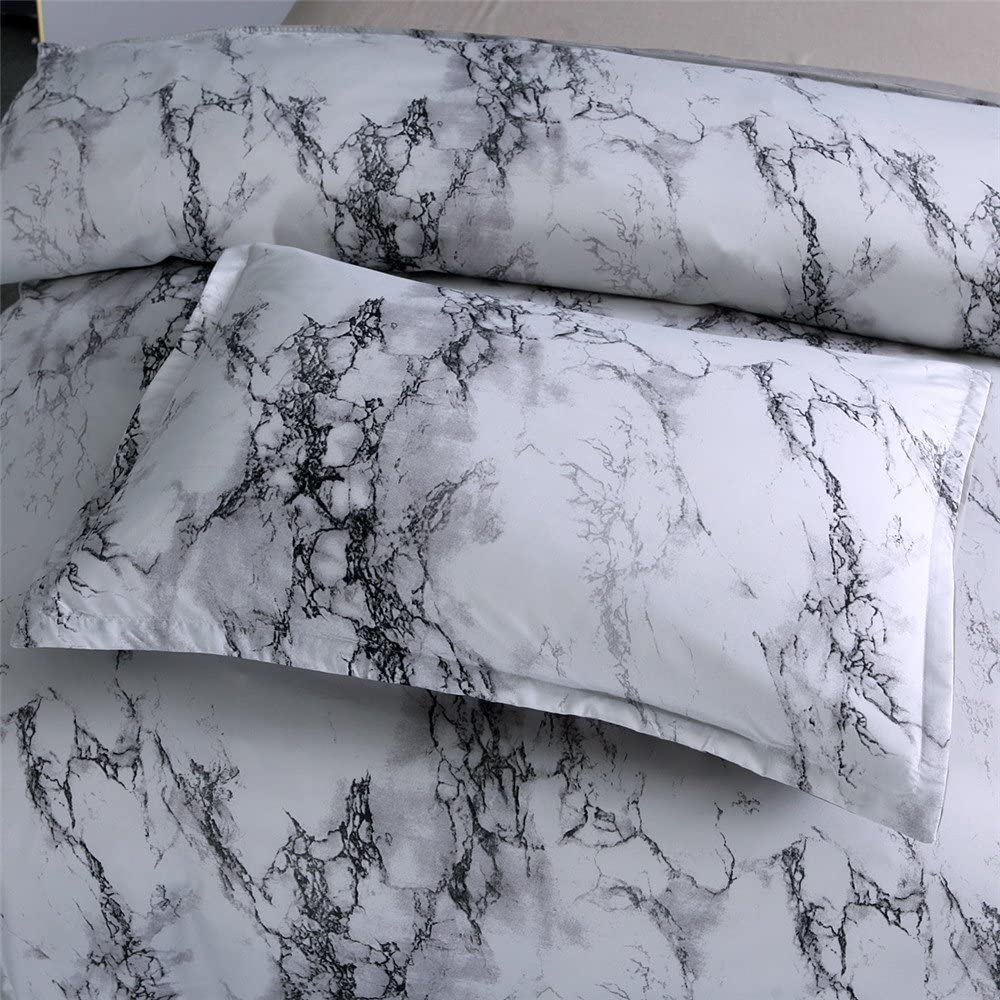 NTBED Marble Duvet Cover Sets Queen,Soft Lightweight Microfiber Bedding Quilt Cover Sets,Modern 3pcs Marble Printed Bed Set for Men Women Teens Girls Boys