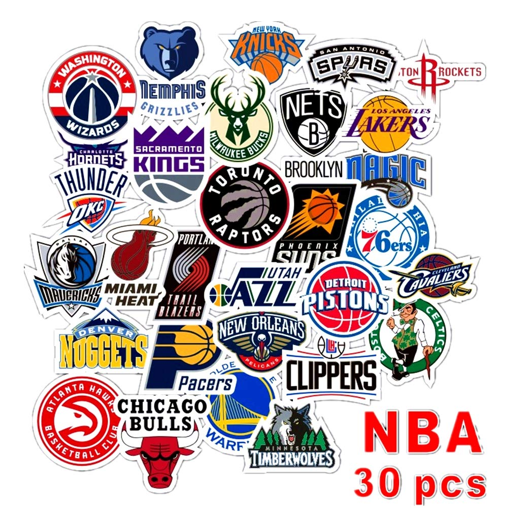 Homyu stickers pack 30 pcs decals of nba team stickers basketball team logo for laptops cars motorcycle portable luggages ipad waterproof sunlight proof