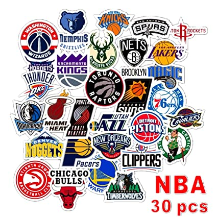 Homyu Stickers Pack 30 Pcs Decals Of Nba Team Stickers Basketball Team Logo For Laptops Cars Motorcycle Portable Luggages Ipad Waterproof