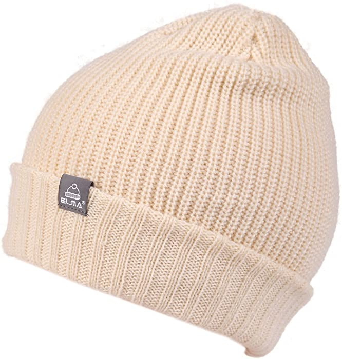 5a2c087d223278 Unisex Super Warm Winter Thick Slouchy Snappy Knit Beanie Cap Hat Fold (Ivory  White)