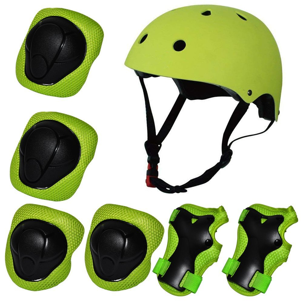 Kiwivalley Kids Boys and Girls Outdoor Sports Protective Gear Safety Pads Set [Helmet Knee Elbow Wrist] for Rollerblades, Scooter, Skateboard, Bicycle, Rollerblades(Green)