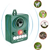 Wikoo Ultrasonic Animal Repeller, Solar Powered Pest Repeller, Waterproof Outdoor Repellent with Motion Activated PIR Sensor, Repel Dogs, Cats, Squirrels and more
