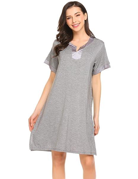 85887b7466 Langle Womens Sexy V Neck Nightwear Sleepwear Slim Dress (Gray, Small)