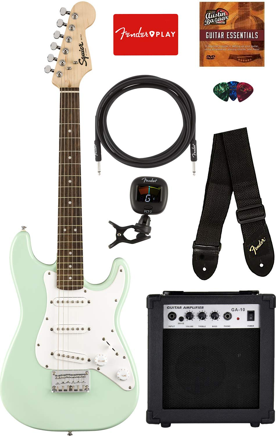 Squier by Fender Mini Strat Electric Guitar - Surf Green Bundle with Amplifier, Instrument Cable, Tuner, Strap, Picks, Fender Play Online Lessons, and Austin Bazaar Instructional DVD by Austin Bazaar
