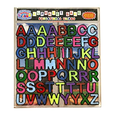 Alphabet and Letters Thick Gel Clings (56 pc) – Reusable and Removable Glass Window Clings for Kids - Gel Decals Create Messages Like Welcome Home, Happy Birthday Home, Airplane, Classroom, Nursery: Toys & Games