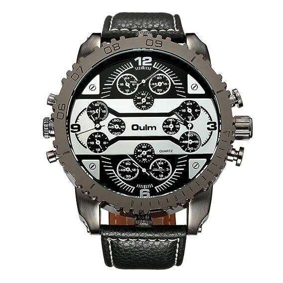 Hombre Relojes de cuarzo, Relojes militares Reloj deportivo Correa de cuero Cuatro franjas horarias Personalizar el reloj de pulsera Resistente a los ...