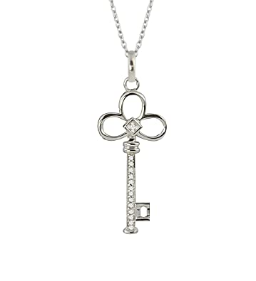 357a67747 Amazon.com: Sterling Silver Black and White Diamond Reversible Key Pendant  Necklace (1/10 cttw, H-I Color, I2-I3 Clarity), 18