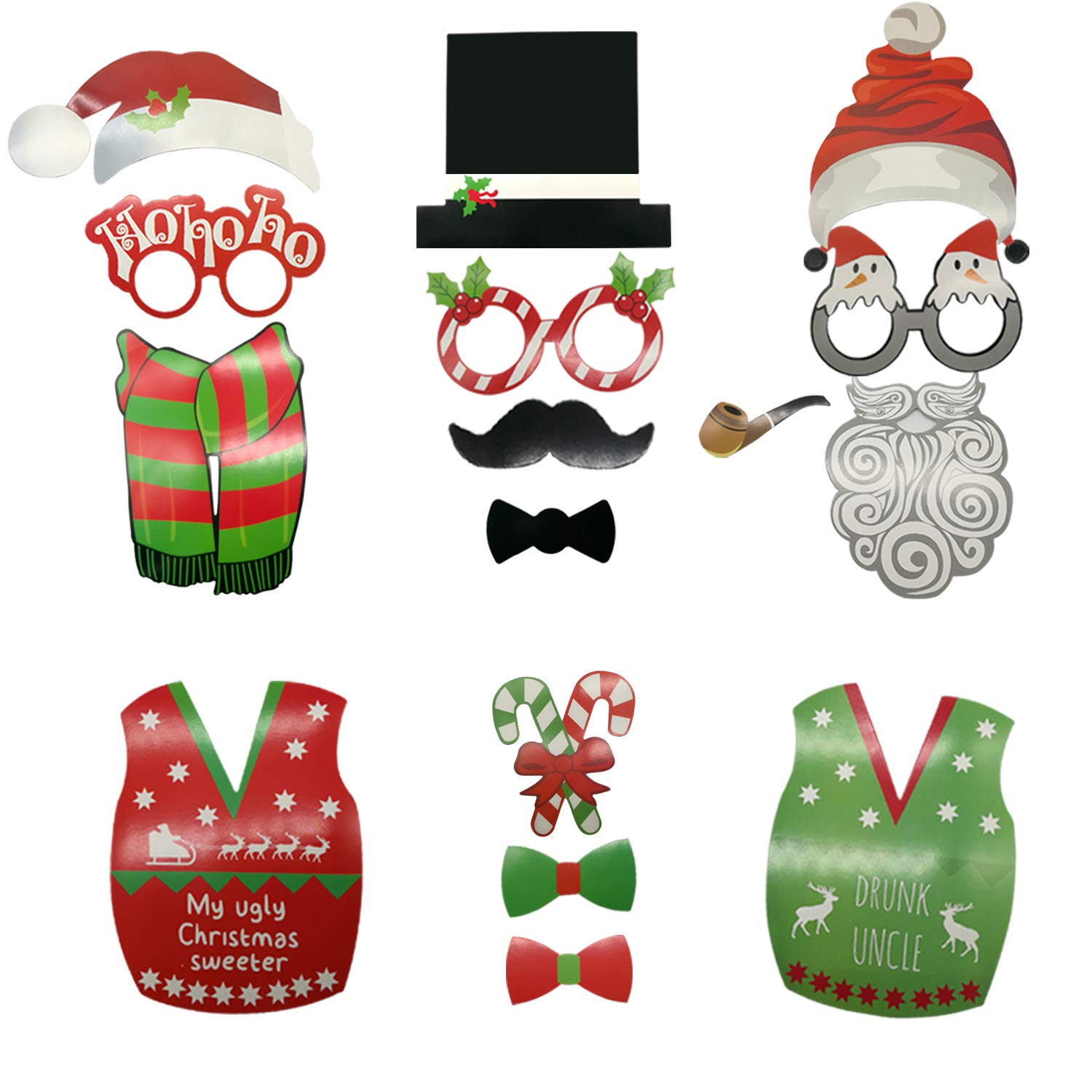 Amazon.com: 2018 Christmas Party Photo Booth DIY Props On A Stick ...