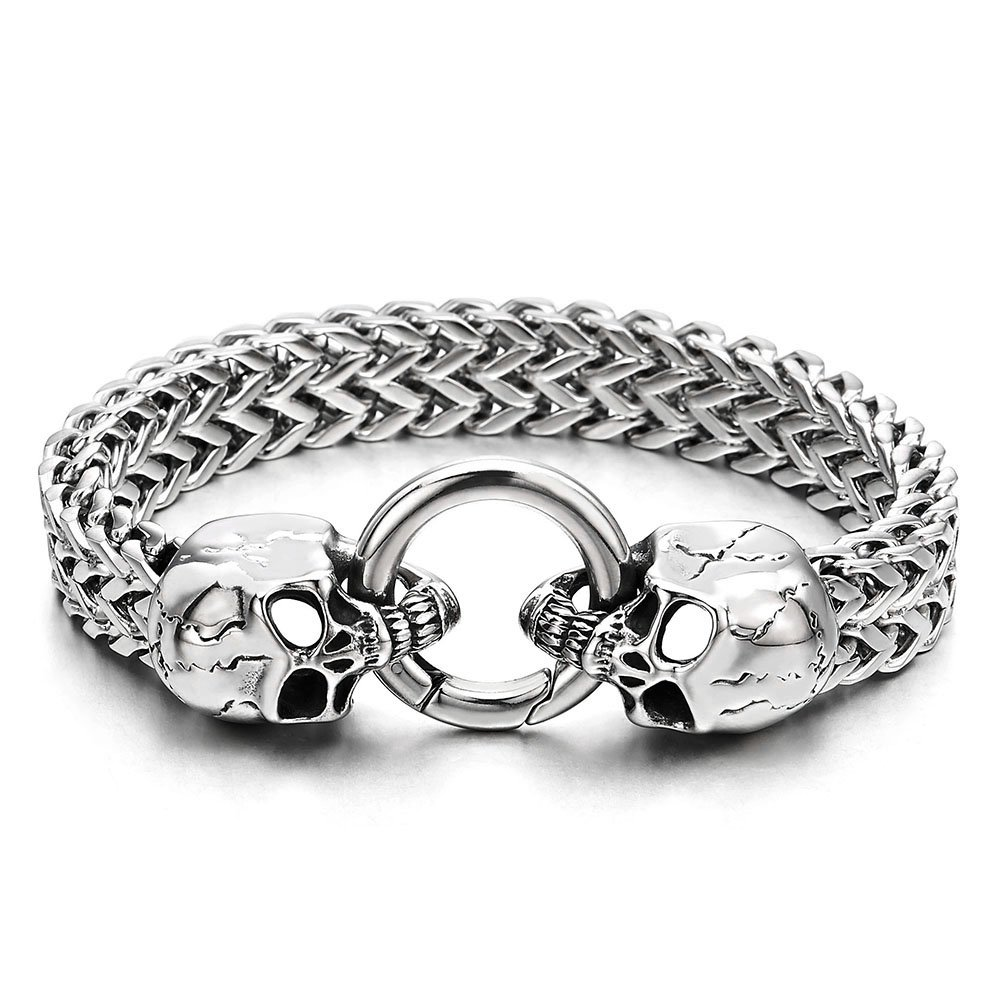 Gothic Mens Stainless Steel Skull Franco Link Curb Chain Bracelet with Spring Ring Clasp 8.5 Inches COOLSTEELANDBEYOND MB-1336
