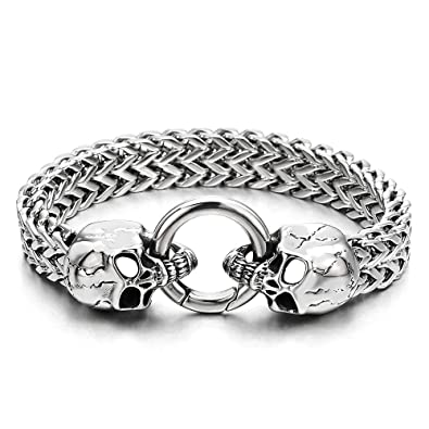 6c7e9d2694974 Gothic Mens Stainless Steel Skull Franco Link Curb Chain Bracelet with  Spring Ring Clasp 8.5 Inches
