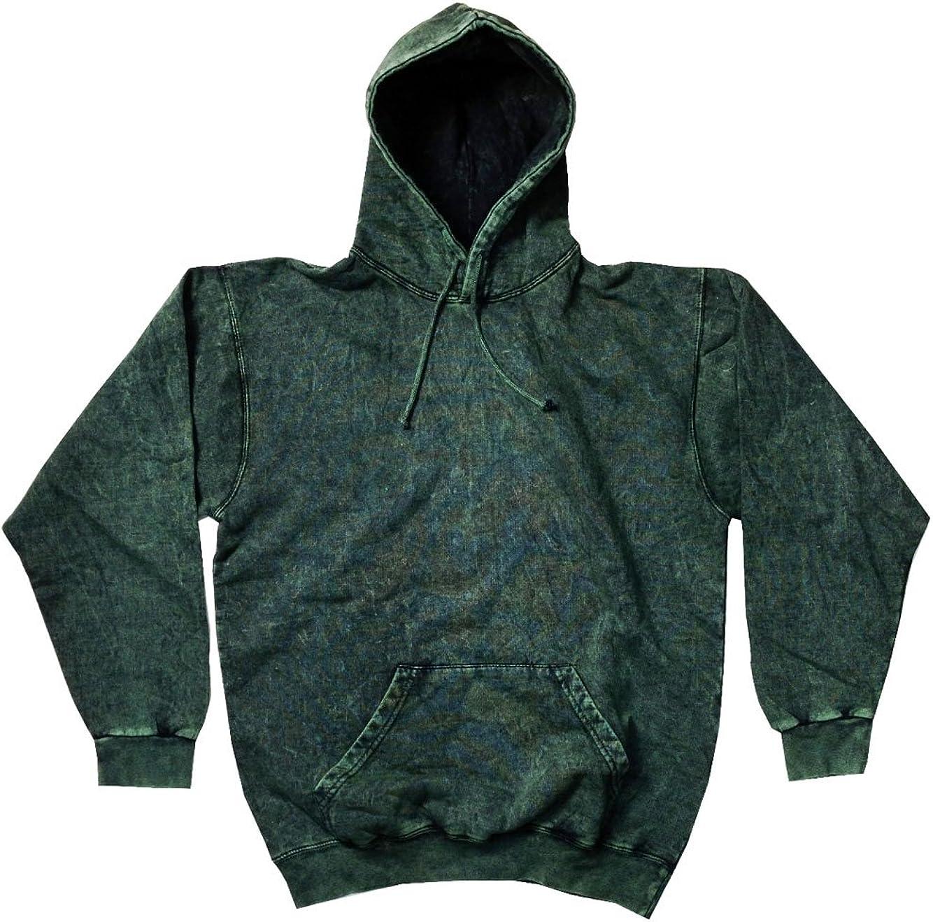 3XL Long Sleeve Pockets No Zipper Colortone Cotton Mineral Wash Black Hoodie S