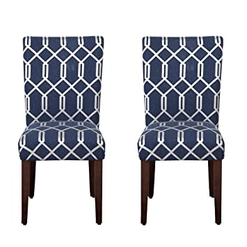Amazon.com   HomePop Navy Blue Cream Lattice Elegance Parson Chairs (Set Of  2)   Chairs