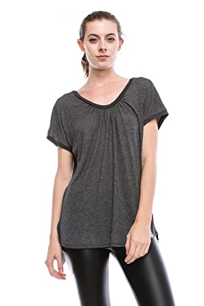 bc58493ea0 JC Womens Open Back Keyhole Yoga Cover Up Short Sleeve Blouse Top Made in  USA-