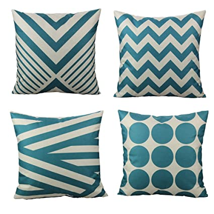 Amazon Com All Smiles Teal Throw Pillow Covers Case Outdoor