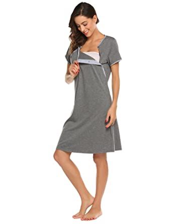 6f4f1beb13 Langle Women s Maternity Feeding Nightgown Pregnancy Outfits Cotton Nursing  Breastfeeding Nightie (Dark Grey