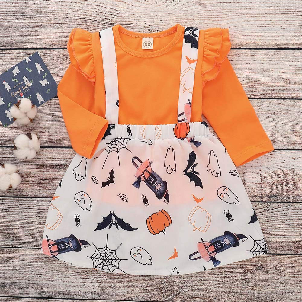 T-Shirt Ruched Clothes HOT Hstore Baby Boys Girls Set Halloween Cartoon Strap Skirt