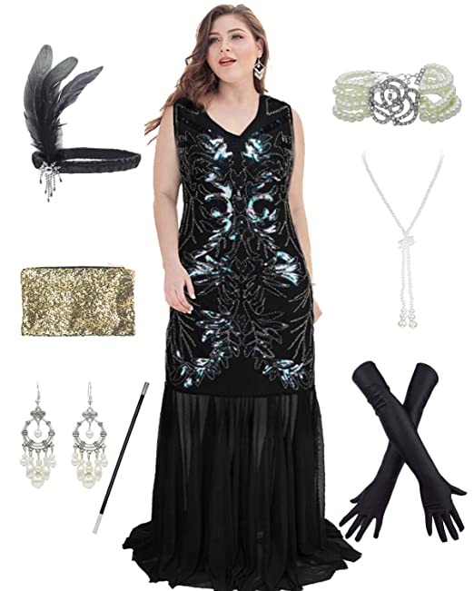 Amazon.com: 1920s Plus Size Great Gatsby Fringed Flapper ...