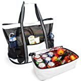 Yodo Beach Tote Bag with Insulated Cooler for Picnic Grocery Pool Party