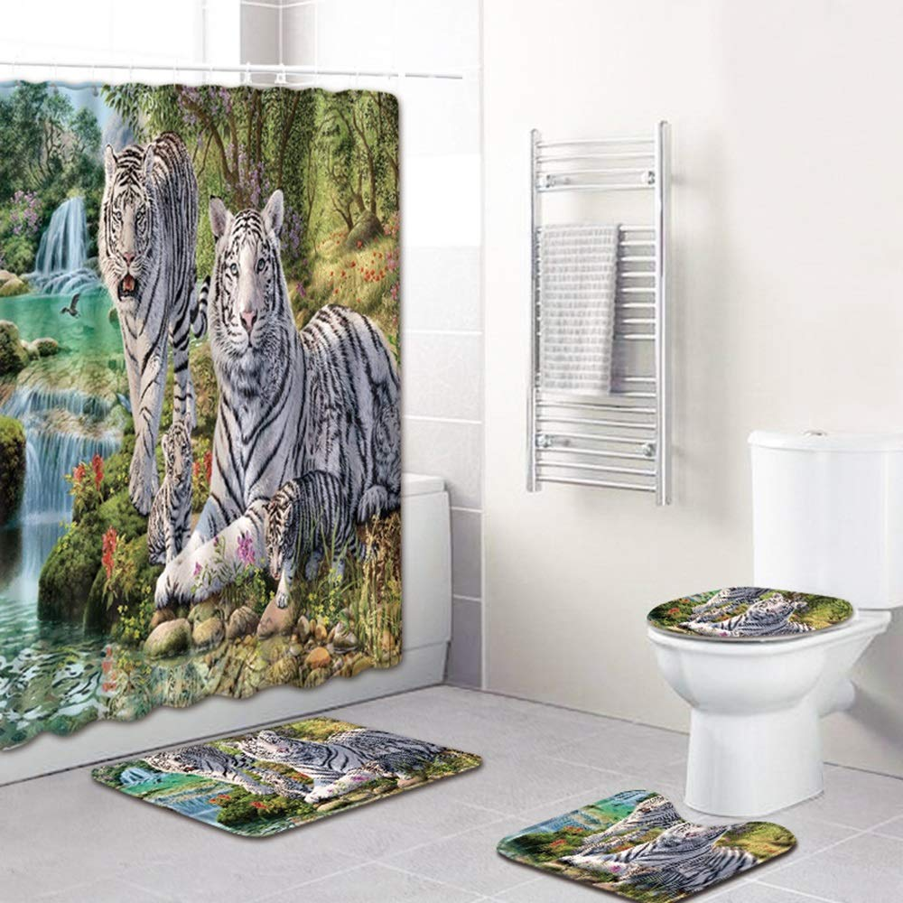 ETH Tiger Family Design Shower Curtain Floor Mat Bathroom Toilet Seat Four-Piece Carpet Water Absorption Does Not Fade Versatile Comfortable Bathroom Mat Can Be Machine Washed Durable by ETH