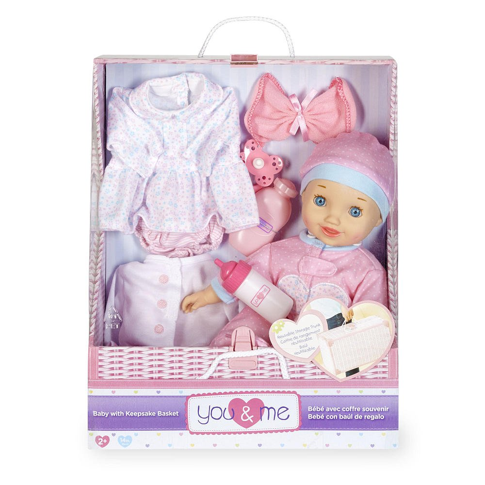 You & Me 14 Inch Pink Baby with Keepsake Basket Set - Caucasian