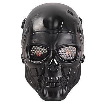 HanLuckyStars Máscara Airsoft Máscara de Craneo Tacticas Militar Proteccion de Cara con Malla de Metal Protectora