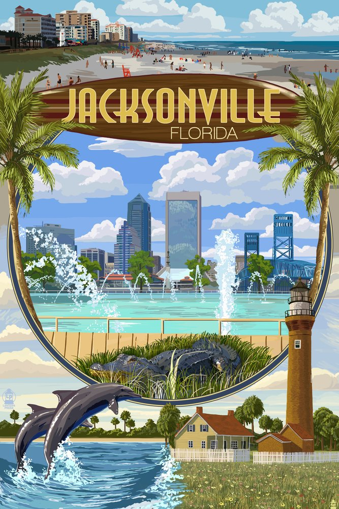 Jacksonville, Florida - Montage Scenes (12x18 Art Print, Wall Decor Travel Poster) by Lantern Press