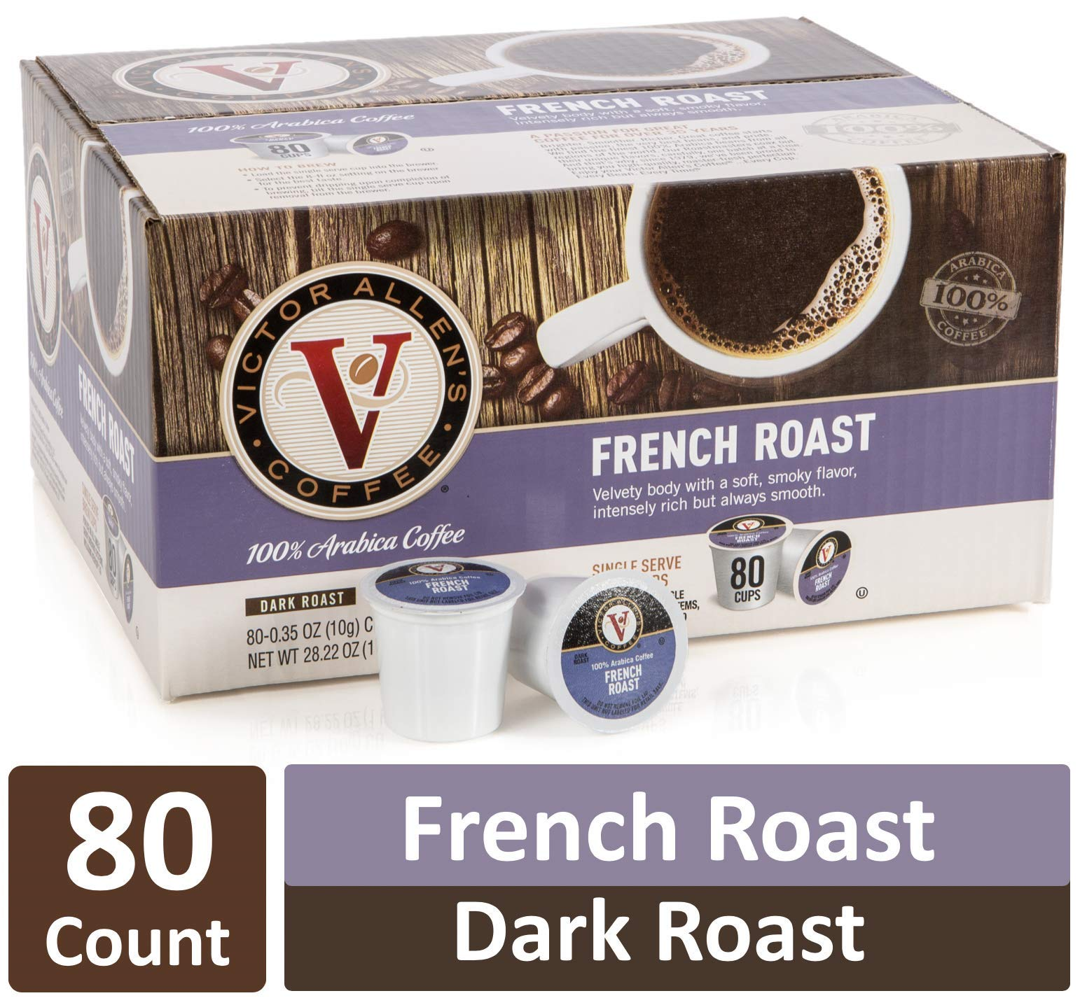 French Roast for K-Cup Keurig 2.0 Brewers, 80 Count, Victor Allen's Coffee Medium Roast Single Serve Coffee Pods