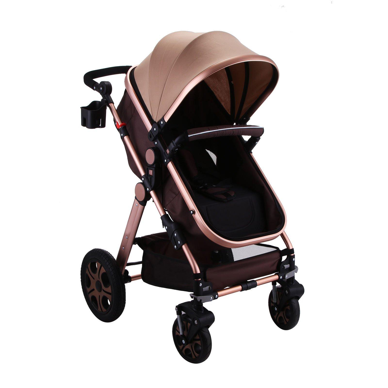 OrangeA Newborn Baby Stroller Foldable Anti-shock High View Carriage Infant Stroller Pushchair Pram (Gold)